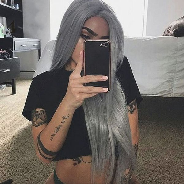 Gray Lace Front Human Hair Wigs For Women 150% Density Remy Straight Grey Silver Indian Hair Wig PrePlucked With Baby Hair