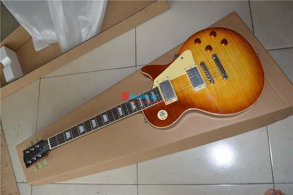 Electric guitar LP STD TS Back yellow color Mahogany body and neck Presented pick and bag Free shipping Musical Instrument