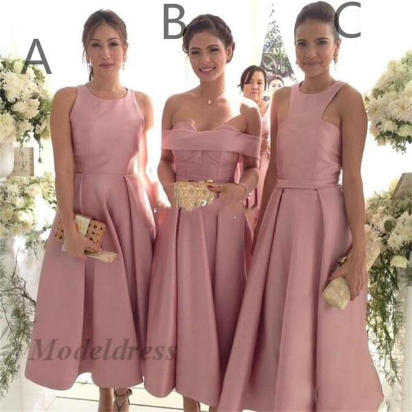 Пыльная роза розовый чай длина фрейлина платья три стиля декольте линии драпированные элегантные платья для выпускного вечера атласные вечерние платья