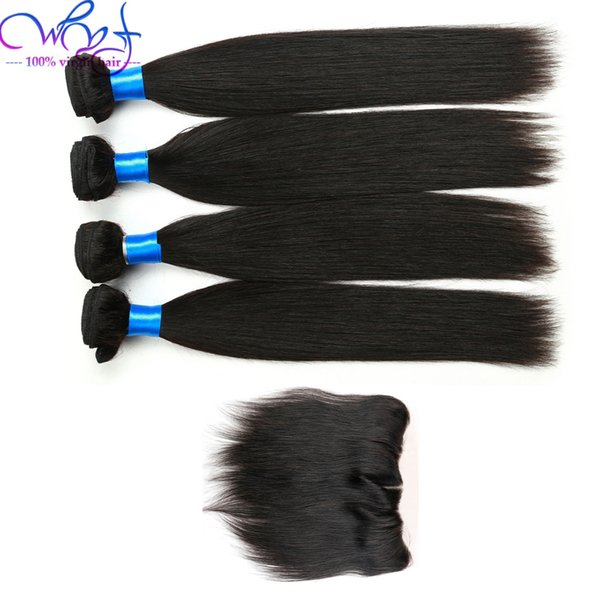 Good Quality Straight Bundles With Frontal Closure 100% Malaysian Human Hair 4 Bundles With Frontal Closure Virgin Hair Weave Extensions