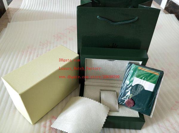 Envío gratis marca verde reloj original caja papeles tarjeta monedero cajas de regalo bolso 185 mm * 134 mm * 84 mm 0.7 kg para 116610 116660 116710 relojes