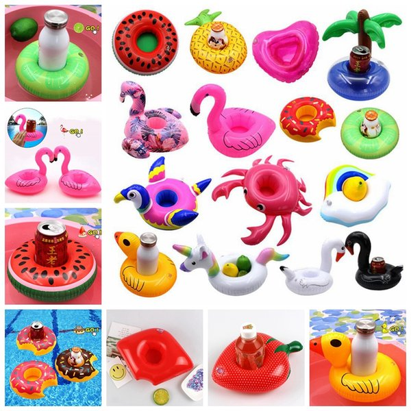 Inflatable Float Flamingo Cup Holder Coasters Inflatable Drink Holder for Swimming Pool Air Mattresses for Cup Party GGA617 1000pcs