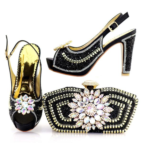 Черные элегантные каблуки, итальянский предназначен для дам свадеб, и соответствующие сумки...каблук 10,5 см.A-1719-1