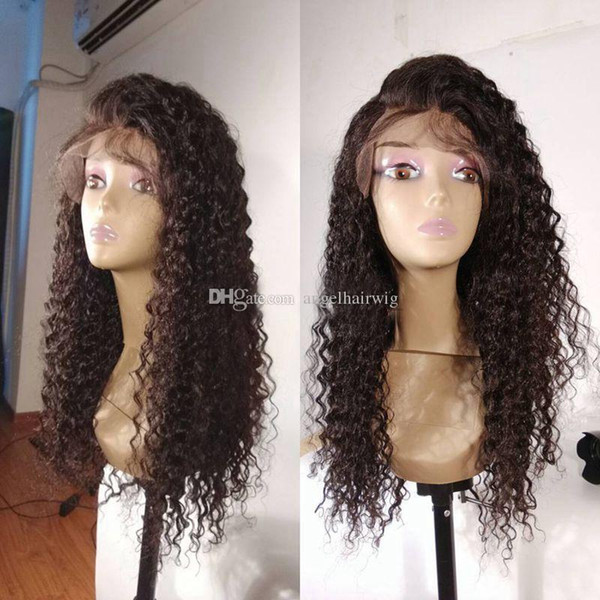 Pas cher résistant à la chaleur naturelle sans colle Kinky Curly Lace Front Vierge perruques avec des cheveux de bébé brésilien de cheveux humains Full Lace Wigs pour les femmes noires