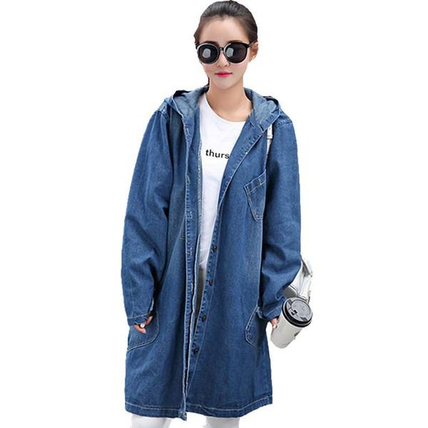 Wholesale- 2017 Vintage Long basic coats women Casual Loose jean jackets Girls streetwear Plus SizeS-4XL Hooded denim jacket coat new Y117