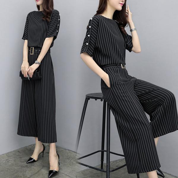 Plus Size Striped Two Piece Set Top And Pants Palazzo Women's Summer Suit Chiffon Ensemble Femme Deux Pieces Tracksuit Women