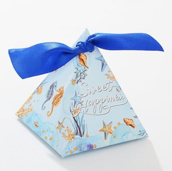 100 Pcs Seahorse Starfish Style Ocean Theme Wedding Triangular Pyramid Wedding Favors Candy Box Bomboniera Party Gift Box