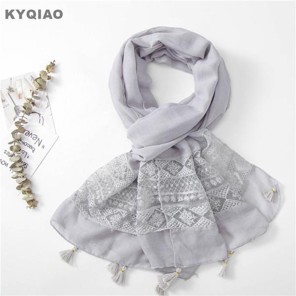 KYQIAO Dantel kafa eşarp kadınlar için sonbahar bahar Güney Kore moda tatlı uzun gri koyu mavi dantel hollow püsküllü atkılar
