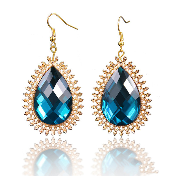 Fashion jewelry high-end ear accessories gold-plated drop crystal earrings female small jewelry