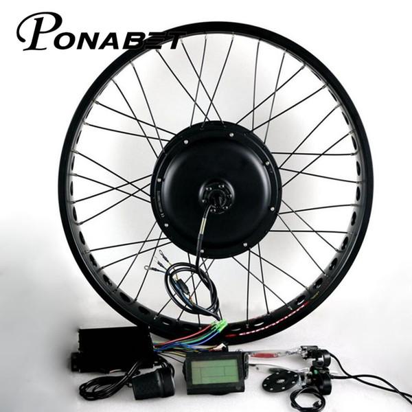 "Ponabet Electric Bicycle Fat Bike Conversion Kit 170mm 190mm Rear Drive 26"" 4.0 Tyre 48v 1500w brushless hub motor Electric bike"