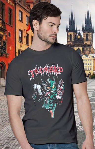 New 1TANKARD ALIEN'89 GERMAN THRASH METAL BAND ALCOHOL BEER Top Popular T-Shirt 100 % Cotton T Shirt For Boy Gray Style