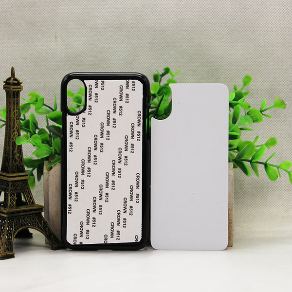 For IPHONE X blank 2D sublimation cases DIY printing hard plastic case with white metal insert sublimation case