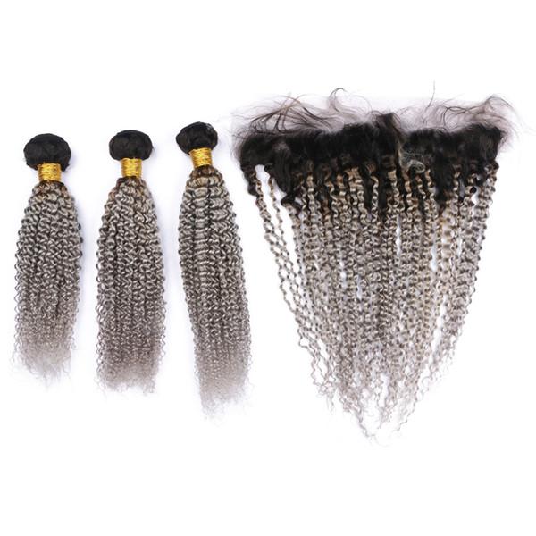 Kinky Curly # 1B / Grey Ombre Brazilian Human Hair 3 Paquetes con Frontal plateado Ombre Ombre a oreja Encaje Cierre frontal con tejido