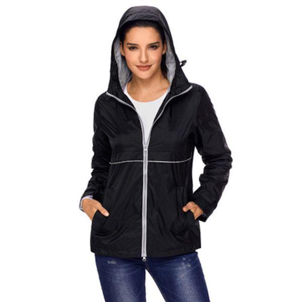 Women Solid Color Mountaineering Jackets Autumn Fashion Ladies Large Long Sleeve Hooded Zipper Waterproof Raincoat Jacket