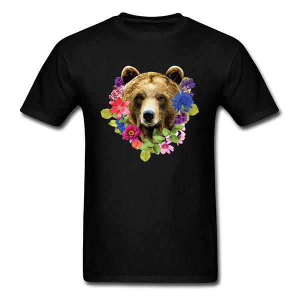 Floral Bearr Herren Ausgestattet Klassische Tops T-shirt Rundhals Liebhaber Tag Baumwolle T-shirts Sommer Kurzarm Sweatshirts