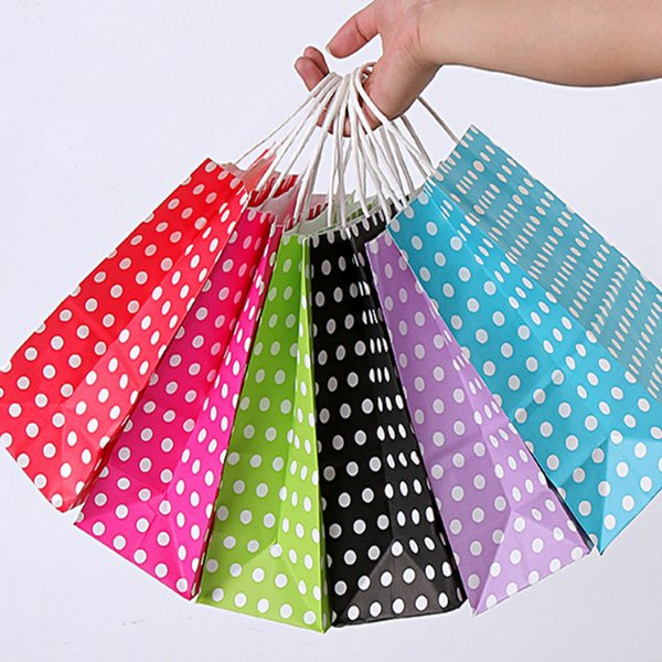Polka Dot kraft paper gift bag with handles 21*15*8cm Hotsale Festival gift bags DIY multifunction shopping bags