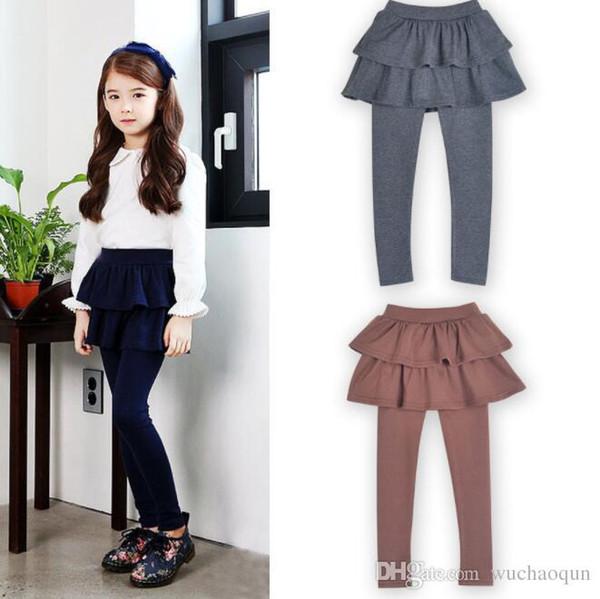top popular Girls Skirt Pants Autumn 2018 New Spring Girls Leggings with Skirt Girls Clothes Children Kids Trousers Leggings Pants for Girl 2020
