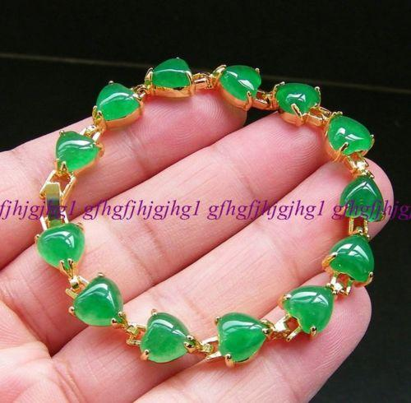 "Charm green chalcedony jade bracelet bangle women gold plated chain 7.5""<<<free shipping"