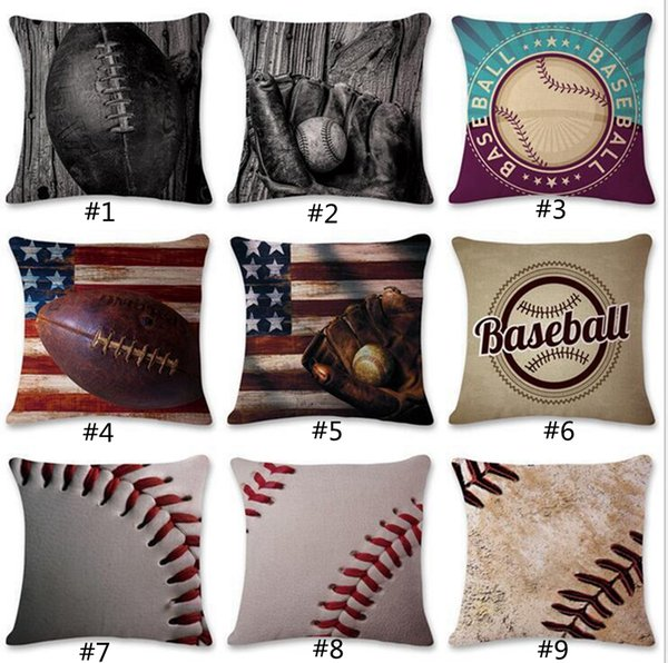 9 Designs 45*45cm Baseball Football Pillow Case Cotton Linen Square Cushion Sofa Car Livingroom Bedroom Maternity Pillow Covers GGA109 20PCS