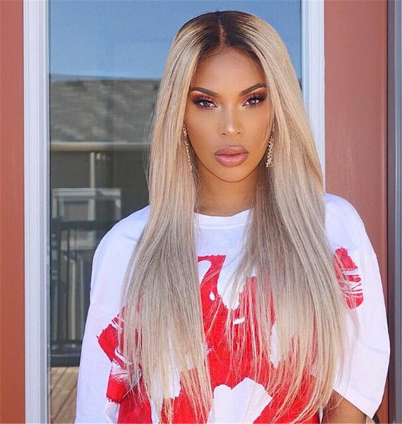 100% Human Hair Full Lace Blonde Wig Ombre Color 1B 613 Two Tone Front Lace Wigs Dark Root With Baby Hair