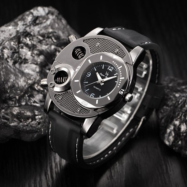 Thin Silica Gel 2017 best selling technology hollow space machine leather band watch skeleton men's quartz watch gifts