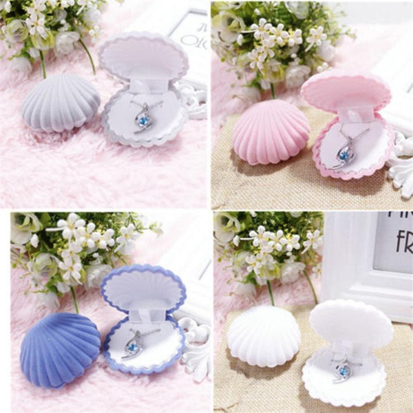 Candy Color Shell Shape Boxes Wedding Engagement Ring Box Earrings Ring Velvet Gift Display Box Jewelry Necklace Case Hotsale