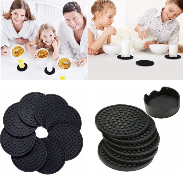 4.3inch 6pcs/set Black Round Silicone Drink Coasters Cup Mat Cup Costers Tableware with holder 10pcs AAA780