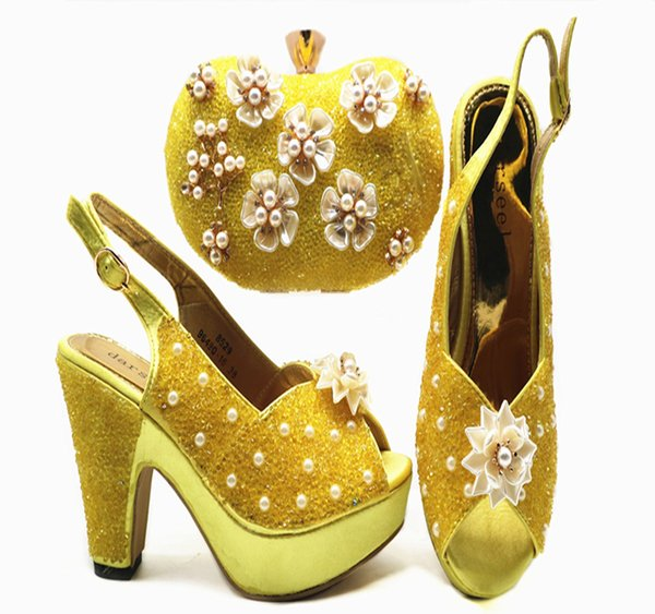 2018 Latest Italian 10cm high heels To Match Shoes with Bag Set Nigerian Shoes with Matching Bags for Women
