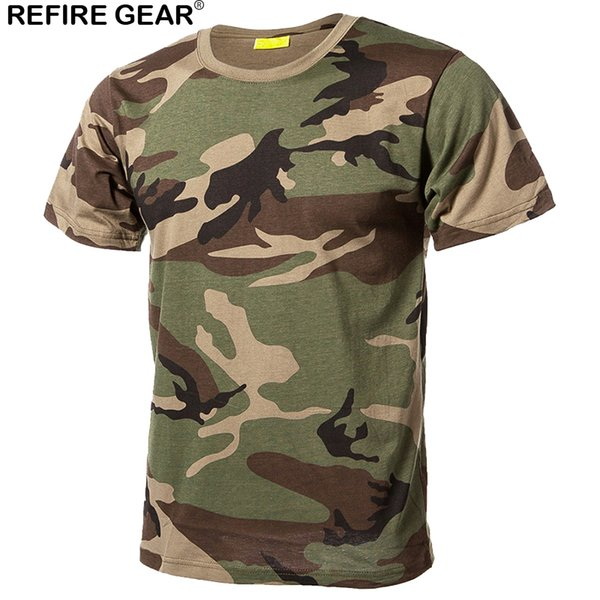 Refire Gear Outdoor Quick Dry T Shirts Men Cotton Camouflage Paintball Hunting Shirts Breathable Tactical Camo T-Shirt