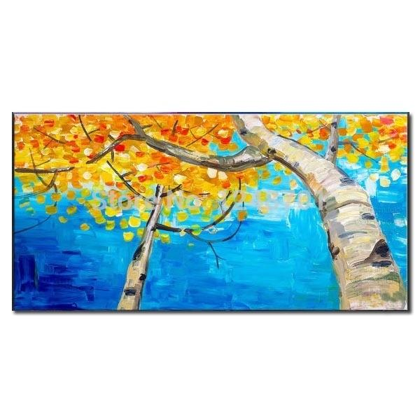 Pure Handmade Yellow trees scenery landscape oil painting palette knife Autumn sky painting on canvas for wall decor