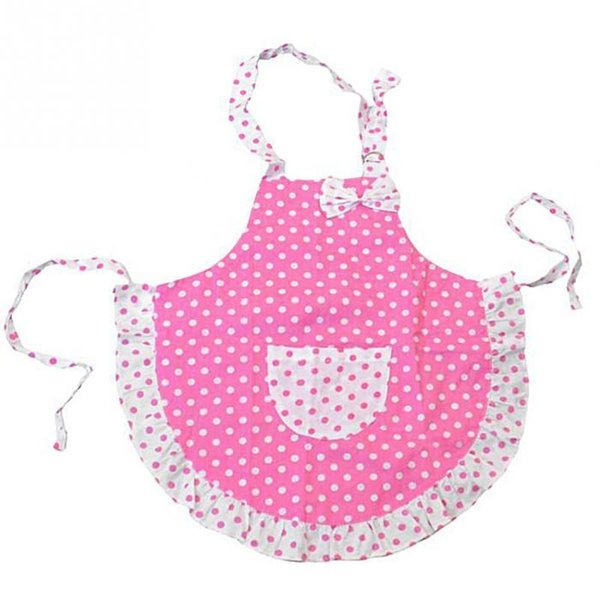 Lovely Cartoon Pink BowKnot Dot Apron Cute Child Kids Apron For Kids Kitchen Art Baking Painting Game Keep Cleaning Avental