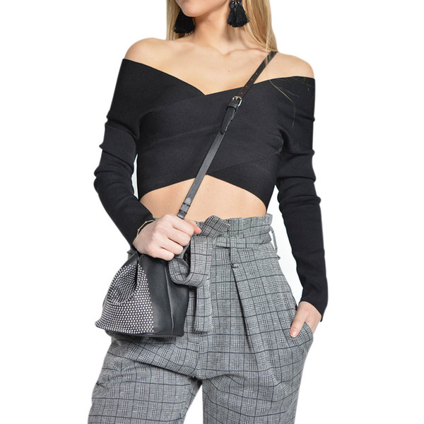 solid color women long sleeve sweater autumn winter wrap criss cross tunic knitted jumper crop top backless pullover M0003