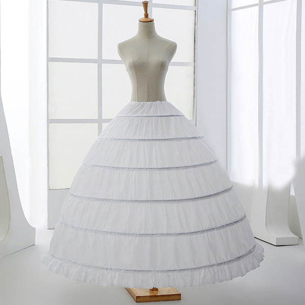 Big 6 Hoops Puffy Ball Gown Long Petticoats Crinoline Underskirts For Wedding Pageant Evening 2018 White Bridal Accessories