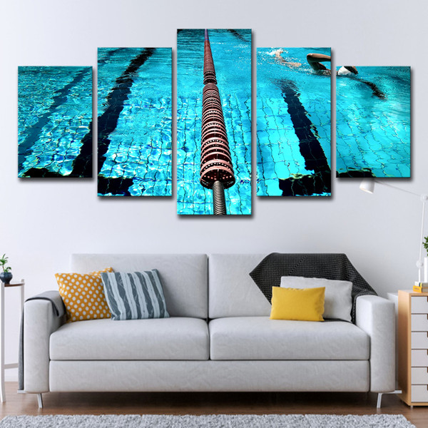Canvas Prints Paintings Living Room Wall Art Framework 5 Pieces Blue Swimming Pool Landscape Pictures Home Decor Sports Posters