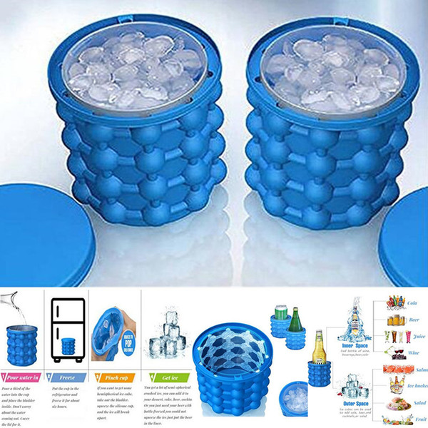 Dropshipping Ice Cube Maker Genie The Revolutionary Space Saving Silicone irlde ice bucket mold Kitchen Tools for whiskey Chilling wine 1pcs