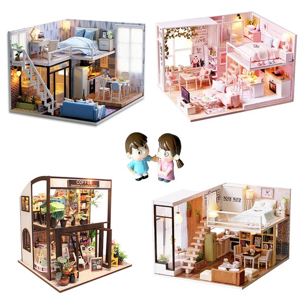 Muebles de casa de muñecas de bricolaje Casas de muñecas de madera en miniatura Muebles de muebles Puzzle Casa de muñecas hecha a mano Artesanía Juguetes para niños regalo de la muchacha