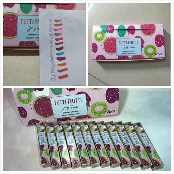 Makyaj Ruj Tutti Frutti Meyve Glitter Dudak Parlatıcısı Sulu Meyve konfor dudak sır karşı karşıya 12 adet / takım DHL freeshipping