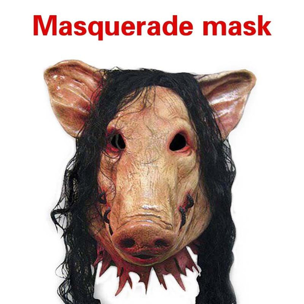 Halloween Pig Head with Black Hair Cosplay Mask costume party Animal Scary Masks Silicon Masks Halloween Party Full Head 28off