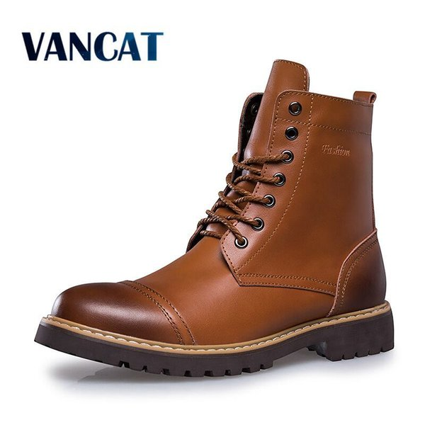 2019 Vancat 2018 Autumn Winter Genuine Leather Men Boots High Quality Lace-up Men shoes Warm Snow Boots Motorcycle Boots Size 38-46 Sneakers