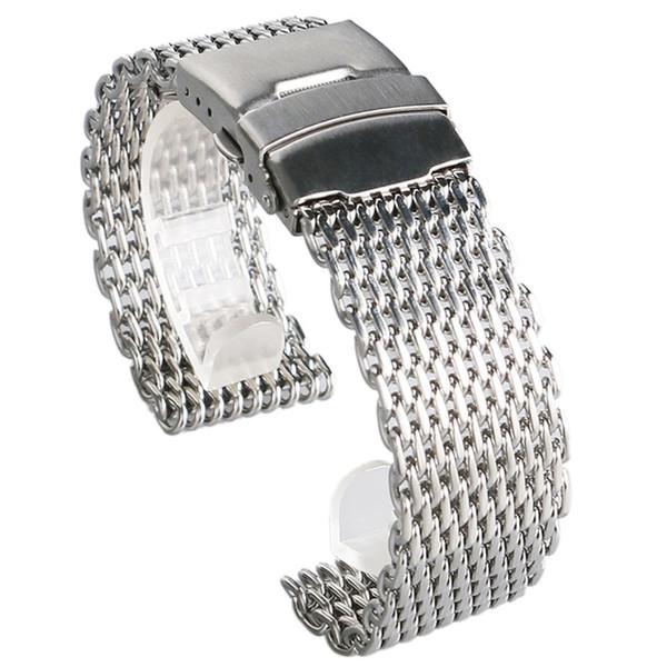18mm 20mm 22mm 24mm Cinturino cinturino a fascia in acciaio inossidabile squalo milanese cinturino in argento per cinturino
