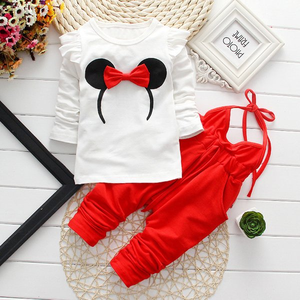 Baby Girl Clothes Hot Sell 0-24 Month Brand Cotton Long Sleeve T-shirt Tops + Overalls 2PCS Outfits Kids Bebes Jogging Suits Y18100905