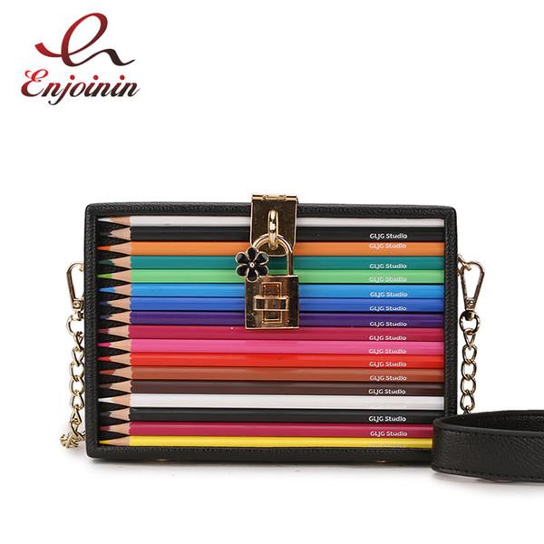 Neue Ankunft Farbe Bleistift Design Box Stil Pu Damen Party Clutch Bag Handtasche Handtasche Für Frauen Crossbody Mini Messeng Tasche