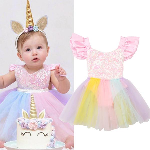 Neonate 3D Unicorn Bordare Floral Mesh Lace Tutu Abiti senza maniche Principessa Kids Cosplay Flower Party Dress Taglia 6-24 Mesi