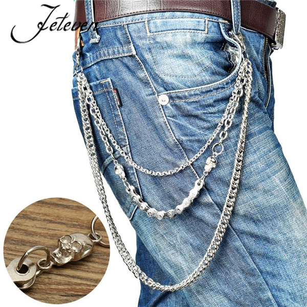 Men's Three Strands Skull Biker Link Key Jean Wallet Chain 3 Layer Waist Punk Hook Silver Trousers Pant Belt Chain Jewelry