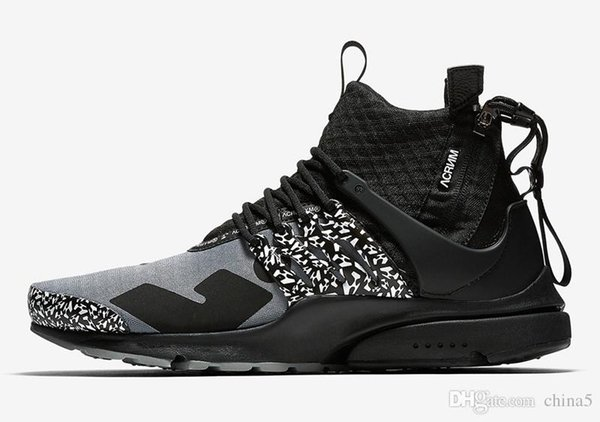 2018 Release Authentic ACRONYM x Air Presto Mid Cool Grey Men Women Running Shoes 2068Nike Sports Sneakers With Original Box AH7832-001