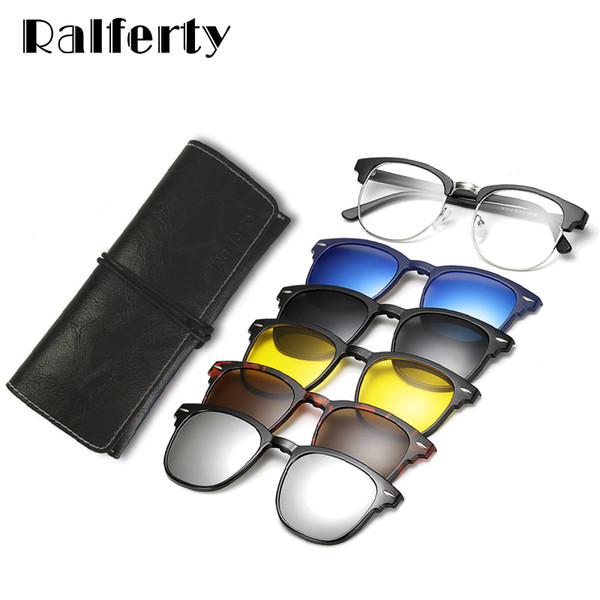 d563c2985b1 Ralferty Ultra-light TR90 Magnetic Clip On Sunglasses Men Women Polarized  UV400 Sunglases Prescription Eyewear Frame With Case