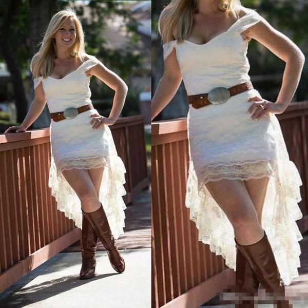 Off O Ombro Lace Alta Low Country Vestidos de Casamento Sem Sash 2018 Barato Curto Frente Longo Voltar cowgirl Vestidos de Noiva Casual