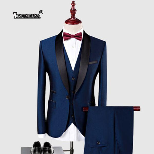 yiwumensa Custom Made Shawl Black Lapel Groom Tuxedos Wedding Best Man Blazer 3 Piece (Jacket+Pants+Vest) Royal Blue Men's Suit
