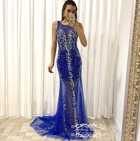 Bling argento diamante strass Prom Dresses 2018 Royal Blue Tulle Sheer Neck Illusion Corpetto lungo sirena Pageant Dress Prom per le donne