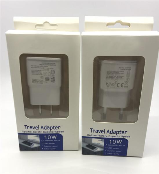 Caricabatterie da muro completo con caricatore da parete USB 5V 2A USB reale Caricabatterie per cellulare con scatola al dettaglio per Samsung S5 S6 S7 S8